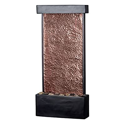 Fountain Waterfall Indoor Water Wall Slate Table Illuminated Copper Light