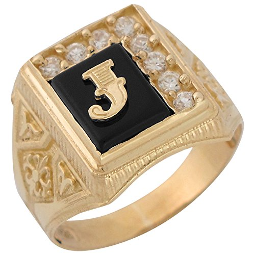 Jewelry Liquidation 14k Yellow Gold Black Onyx White CZ Accented Mens Classic Letter J Initial Ring
