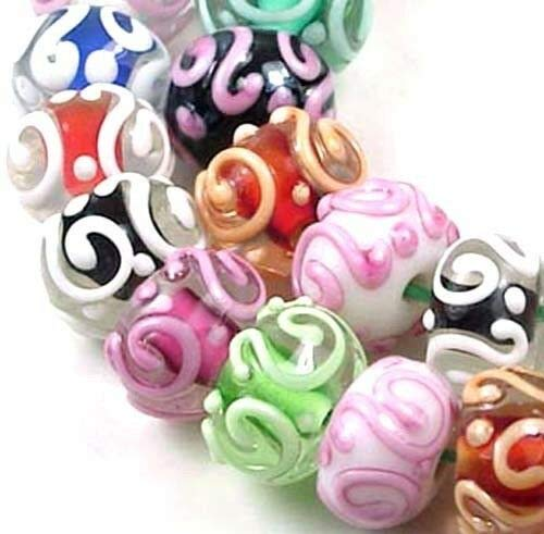 (10 Beads) LAMPWORK Glass Colorful Raised Scroll Rondelle