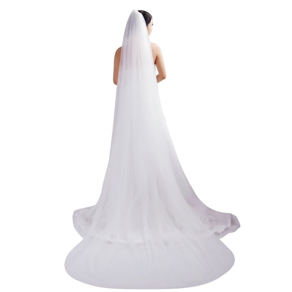 Bridal Veil 2T Tier Trailing Long Cut Edge Soft Tulle 2 layers Wedding Veils with Comb