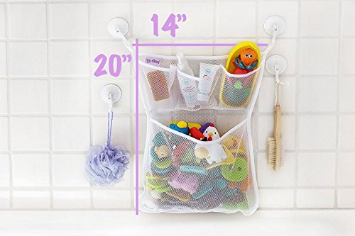 tub cubby bath toy organizer xl baby bath toys bin with 3 extra pockets for. Black Bedroom Furniture Sets. Home Design Ideas