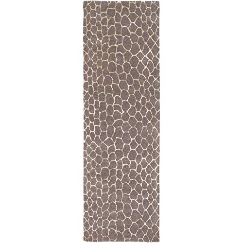 (Tiwari Home 2.5' x 8' Contemporary Style Brown and Ivory Rectangular Area Throw Rug Runner)