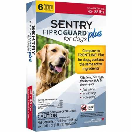 SENTRY Fiproguard Plus for Dogs, Flea and Tick Prevention for Dogs (45-88 Pounds), Includes 6 Month Supply of Topical Flea Treatments