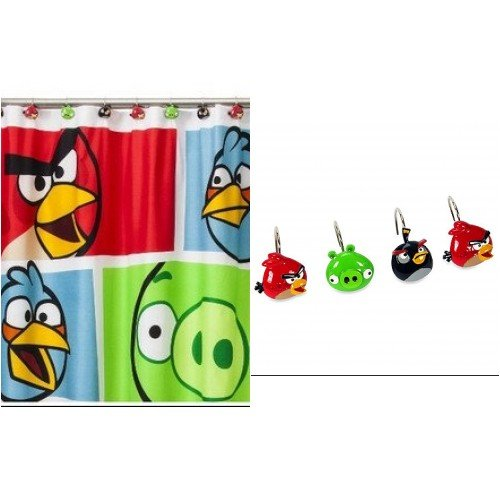 Amazon Mon Tex Disney Fabric Shower Curtain And 12 Hooks Angry Birds Home Kitchen
