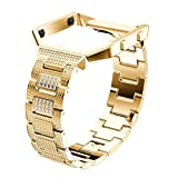 Nacome Luxury Alloy Crystal Watch Band Wrist Strap With Metal Frame For Fitbit Blaze (Gold)