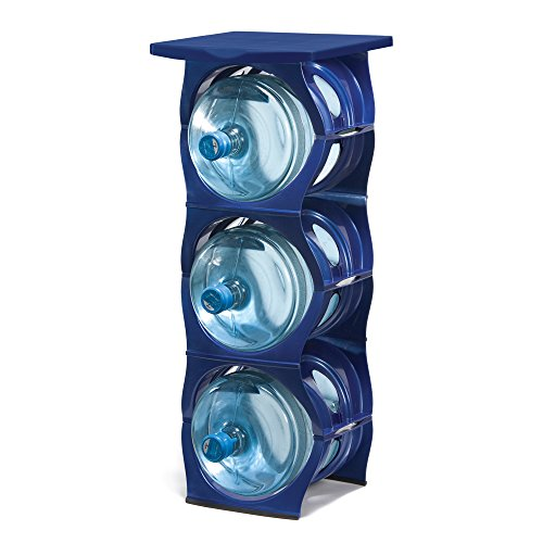 U-STACK Water Bottle Storage Rack - Holds Three 5 Gallon Bottles for Water Coolers (3 Bottle with Shelf) (Dark Blue)
