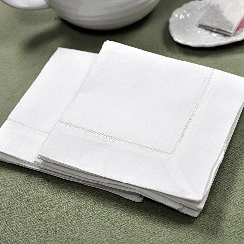 "White Linen Hemstitched Tea Napkins Set of 6 12"" X 12"" Ladde"