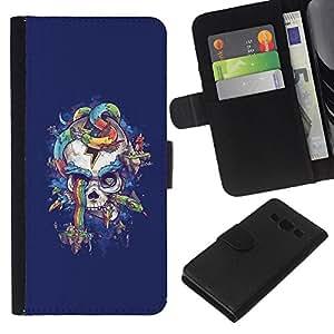 Be-Star la tarjeta de Crédito Slots PU Funda de cuero Monedero caso cubierta de piel Para Samsung Galaxy A3 ( Purple Rainbow Skull Snake Blue )