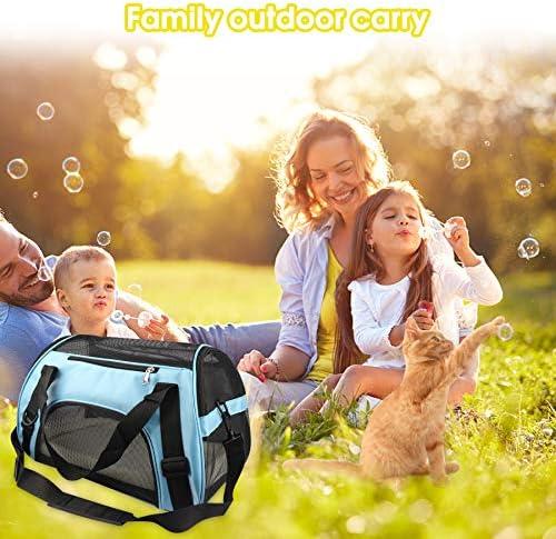 PUBAMALL Pet Carriers, Portador de Gatos, Bolsa de Mascotas Plegable portátil para Perros, Cremallera bloqueable y Bolsa de Hombro (M: 47 * 30 * 23 cm, Azul con tapete) 8