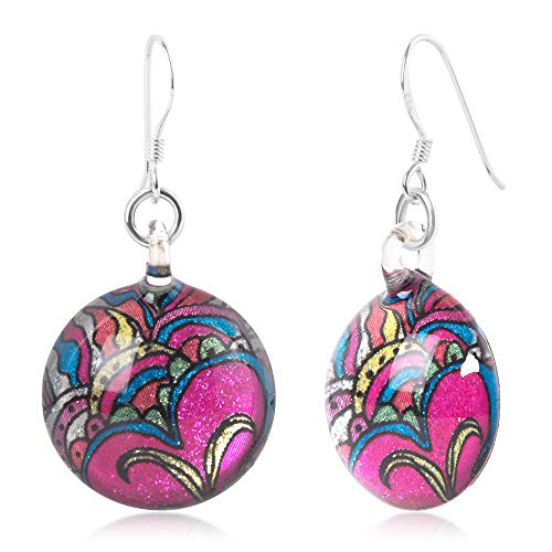 Murano Butterfly Ring - Sterling Silver Hand Blown Murano Glass Multi-Colored Butterfly Flower Art Round Dangle Earrings