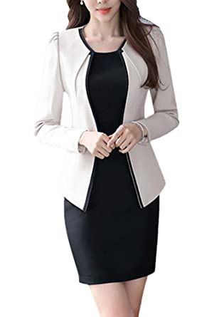 Amazon Com Oncefirst Women S Two Piece Slim Fit Jacket Skirt