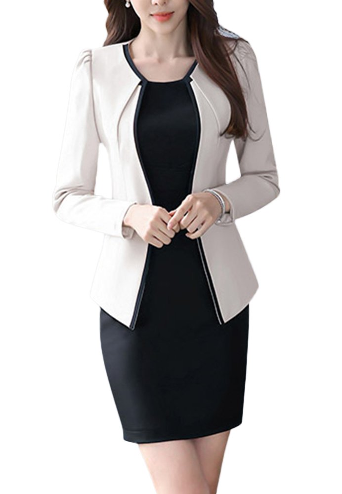 Oncefirst Women's Two piece Slim Fit Jacket Skirt Business Suits Set Beige