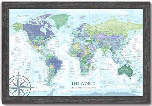 World Map Push Pin, The Humboldt World Map includes amazing geographical references - Use as a Wall Map or Push Pin Map, Personalize your map