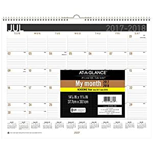 at a glance academic monthly wall calendar july 2017 june 2018 14 7 8 x 11 7 8. Black Bedroom Furniture Sets. Home Design Ideas