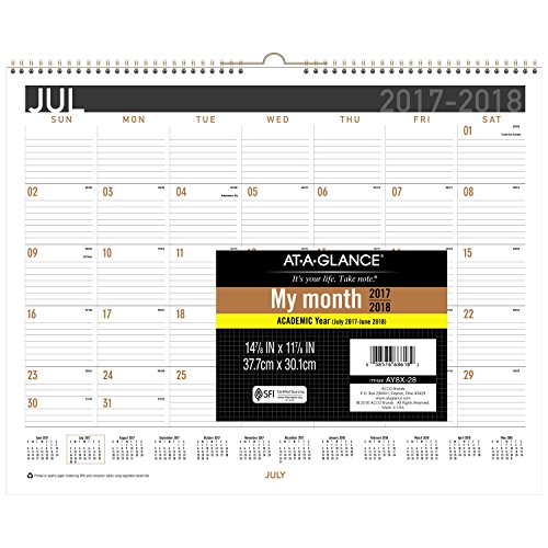 AT-A-GLANCE Academic Wall Calendar, July 2017 - June 2018, 15' x 12', Wirebound (AY828)