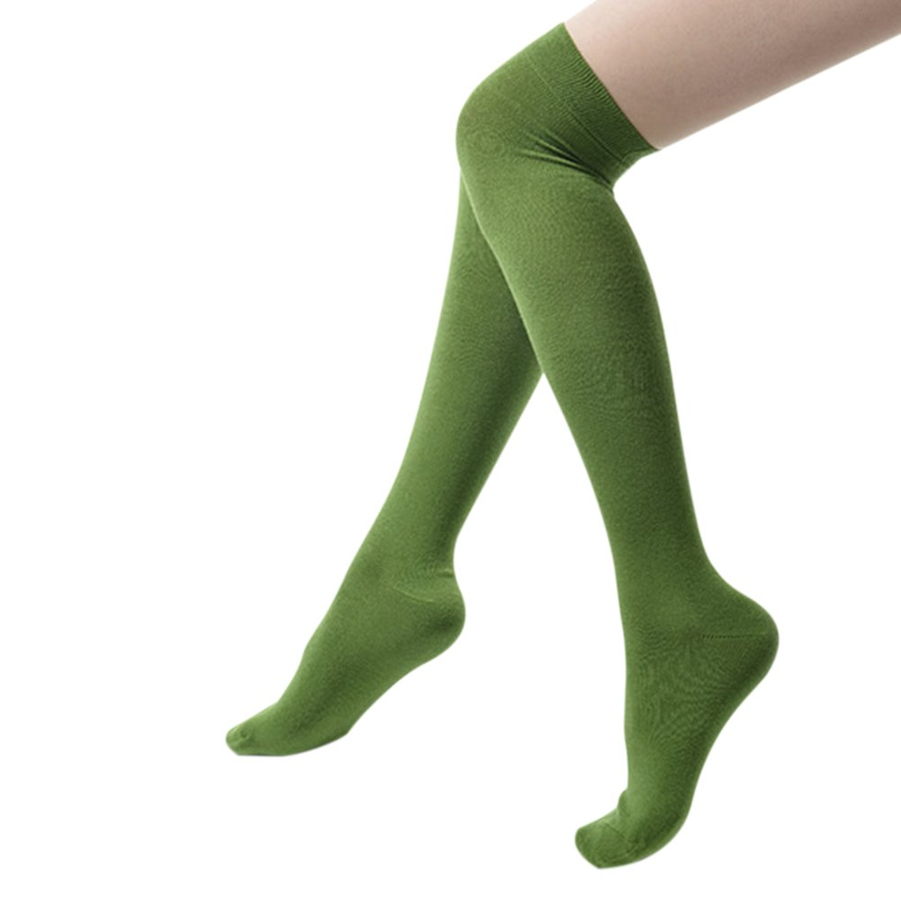 Warm Thigh High Over the Knee Socks Long Cotton Stockings For Girls Ladies Women Olive Green