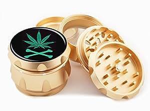 "Weed Design Premium Grade Aluminum Tobacco,Herb Grinder -4Pcs Large (2.5"" Gold) # GLD-50G21916-8"