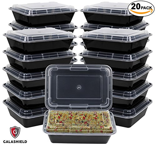 Galashield Meal Prep Containers [20 Pack] Single 1 Compartment with Lids, Food Containers, Lunch Box | BPA Free | Stackable | Bento Box, Microwave/Dishwasher/Freezer Safe, Portion Control (33 oz) 1 Compartment Container