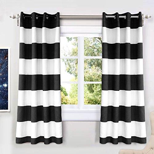 """DriftAway Mia Stripe Room Darkening Grommet Unlined Window Curtains, Set of Two Panels, each 52""""x63"""