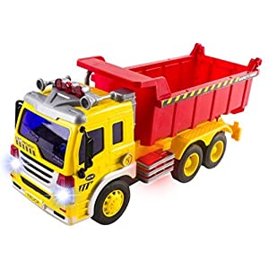 Friction Powered Dump Truck Toy with Lights and Sound for Kids Construction Toy (Battery Included) by Vokodo