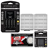 Panasonic eneloop Pro (4) AA 2550mAh Pre-Charged NiMH Rechargeable Batteries & Charger + (4) AAA Batteries + (2) Battery Cases + Kit
