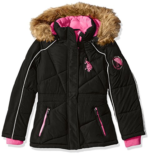 us-polo-assn-girls-big-girls-bubble-jacket-with-faux-fur-trimmed-hood-black-fuchsia-zipper-pockets-1