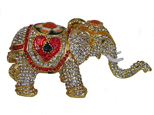 Feng Shui Import Bejeweled Cloisonne Elephant Statue with Trunk Up for Good Luck