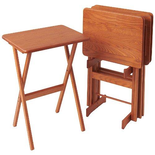 Golden Oak Desk (Manchester Wood Rectangular Folding TV Tray Table Set of 4 - Golden Oak)