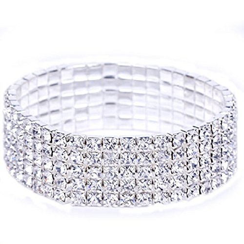 Malltop Luxury Women Bridal 5 Layer Crystal Rhinestone Elastic Bangle (Do It Yourself Couple Costumes)