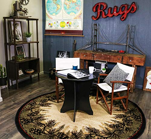 Mayberry Rugs Rustic Lodge Pine Cone Border Brown 5' Round Area Rug, 5'3x5'3