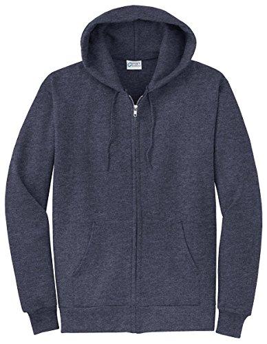 Port & Company Men's Classic Full Zip Hooded Sweatshirt XL Heather Navy