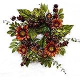Orange Sunflower Wreath Earthwalker of Summer and Autumn for Fall Front Door or Indoor Home Decor