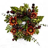 Cheap Orange Sunflower Wreath Earthwalker of Summer and Autumn for Fall Front Door or Indoor Home Decor