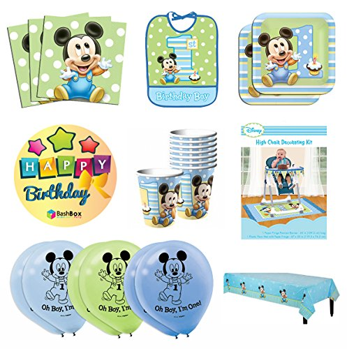 BashBox Mega Mickey Mouse 1st Birthday Party Supplies Pack Including Plates, Cups, Napkins, Table Cover, High Chair Kit, Bib and Balloons for 16 Guests