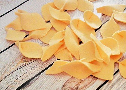 Apricot Wool - Wool felt leaves in APRICOT, 100% merino wool leaves for autumn wedding flower girl petal toss, alternative to rose petals