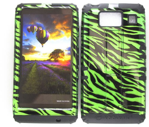 Motorola Green Transparent Faceplates (HYBRID IMPACT SILICONE CASE + BLACK SKIN FOR MOTOROLA DROID RAZR HD XT926 TRANSPARENT GREEN ZEBRA)