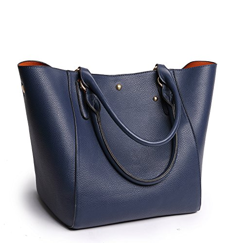 Tibes Large Women Top-Handle Handbag Pu Leather Tote Bag Satchel Blue by TIBES