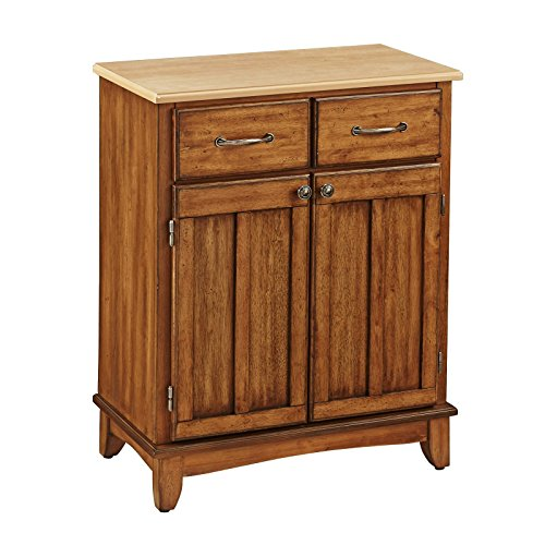 - Buffet of Buffets, Natural Wood Top, Solid Hardwood Construction, 2 Utility Drawers, 2 Wood Framed Cabinet Doors with an Adjustable Shelf, Brushed-Steel Hardware, Cottage Oak Finish + Expert Guide