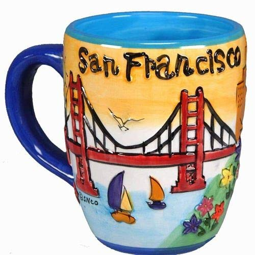 Smith Novelty Company San Francisco Coffee Mug Hand Painted Yellow Puff Round City Coffee (Hand Painted Coffee Cup)