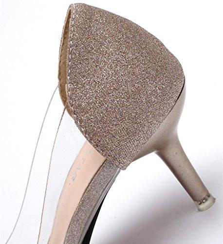 Pointu Chaussures Femmes Paillette Glisser Gold Shoes Moyen Escarpins Légeres AgeeMi sur EuD14 Talon C06BfxS