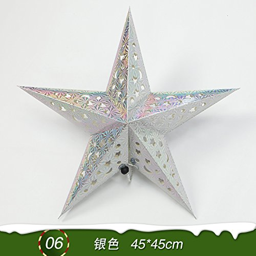 Y-Hui Star Nine Star Bar Mall Festive Arrangement Of Decorative Accessories Christmas Ornaments Origami Stars,Laser Star Pointed - Silver 4545