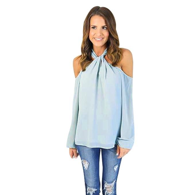 Camisetas Mujer Verano Blusa Parte Superior del Hombro Estampado Blusa con Hombros Descubiertos Moda Mujer Elegante
