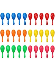 30 Pieces Neon Maracas Shakers Mini Noisemaker Bulk Colorful Noise Maker with Drawstring Bag for Mexican Fiesta Party Favors Classroom Musical Instrument, 4 Inch, 6 Color