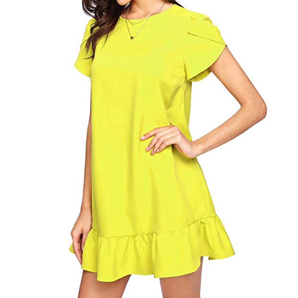 Pgojuni Women's Solid Casual Summer Dress Ruffle Hem Petal Short Sleeve Round Neck Tunic Dress Party Beach Yellow