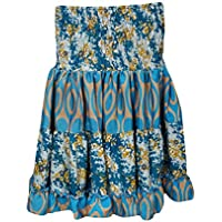 Mogul Womens Swirling Gypsy Skirt Vintage Recycled Full Flare Boho Tiered Knee Length Skirts