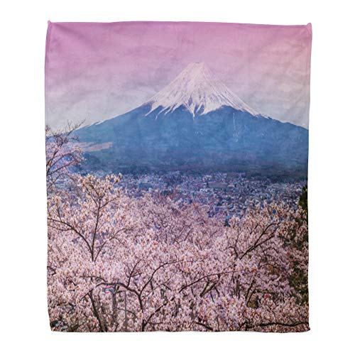 Emvency Throw Blanket Warm Cozy Print Flannel Blue Japan Mountain Fuji in Spring Cherry Blossom Sakura Orange Mount Comfortable Soft for Bed Sofa and Couch 50x60 Inches
