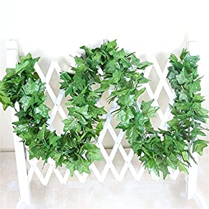 Crt Gucy 40 Ft Artificial Ivy Silk Vines Fake Hanging Plants High Simulation Garlands Greenery Chain for Home Wedding Wall Party Decoration, Pack of 5 117