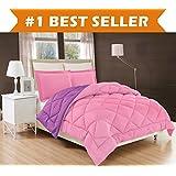 elegant comfort all season comforter and year round medium weight super soft down alternative reversible 2piece comforter set twintwin xl pink purple