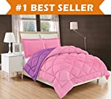 Elegant Comfort All Season Comforter and Year Round Medium Weight Super Soft Down Alternative Reversible 3-Piece Comforter Set, Full/Queen, Pink/Purple