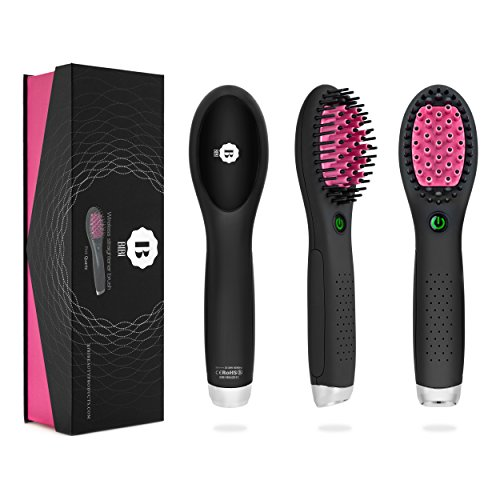 (BIBI NEW Wireless Rechargeable Ceramic Mini Hair Brush 3.0(Pink, Lithium 7.4VDC 1800M) Portable Hair Straightening Iron, USB Port Charging)